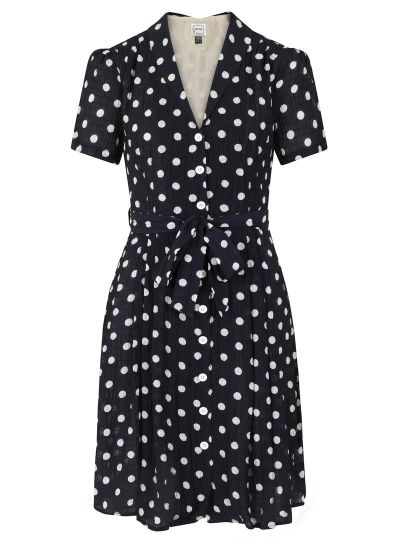 Barb Polka Dot Tea Dress - Navy