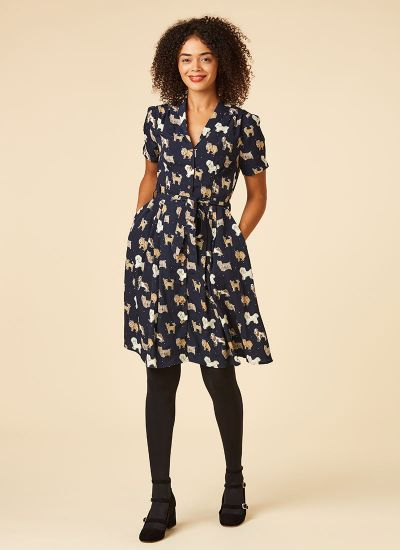 Barb Dog Print Tea Dress Navy Model Pockets