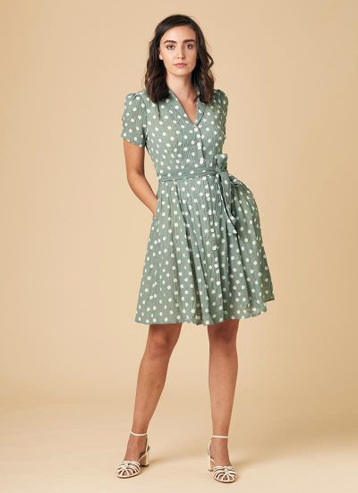 Barb Sage Green Polka Dot Tea Dress Model Front
