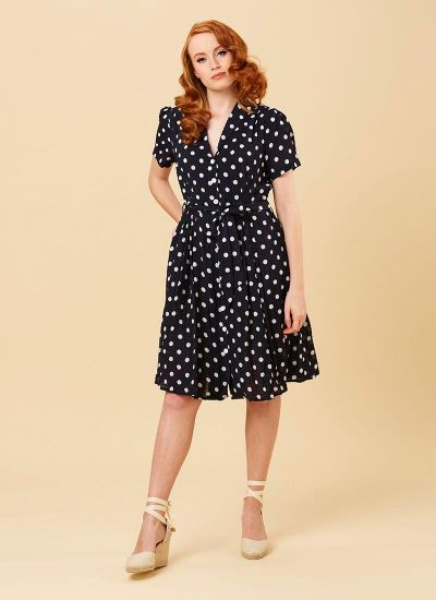 Barb Navy Polka Dot Tea Dress Model Front