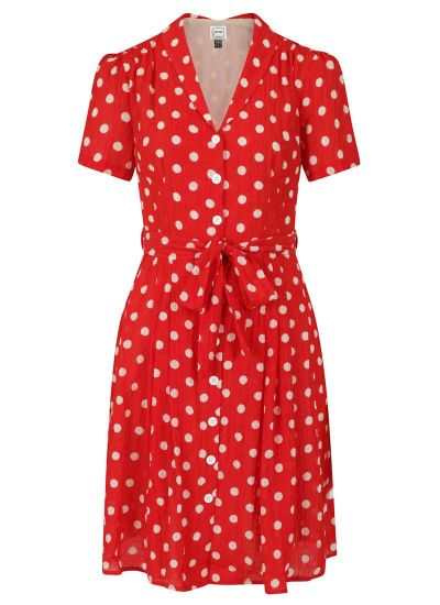 Barb Polka Dot Tea Dress - Red