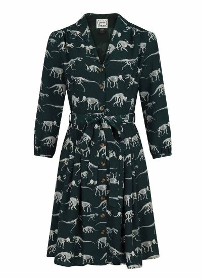 Barbara Dinosaur Print Button-Through Shirt Dress