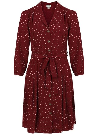 Barbara Polka Dot Button-Through Dress - Cabernet