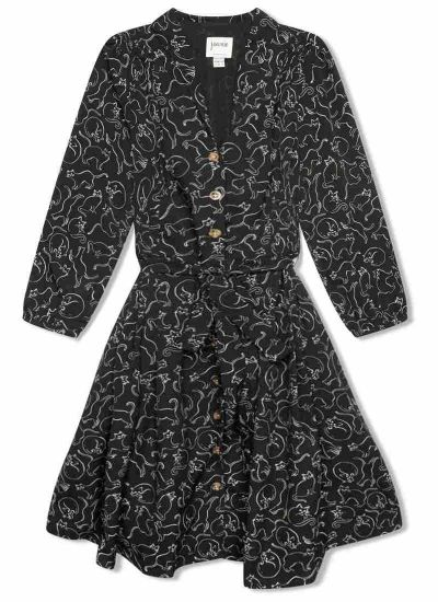 Barbara Cat Print Button-Through Shirt Dress