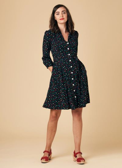Barbara Rainbow Polka Dot Button-Through Dress
