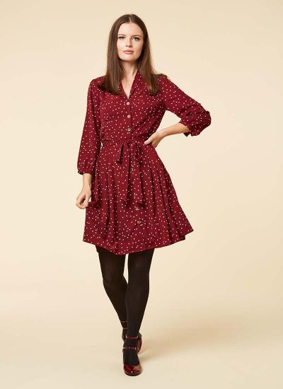 Barbara Polka Dot Button Through Dress Cabernet Model Front