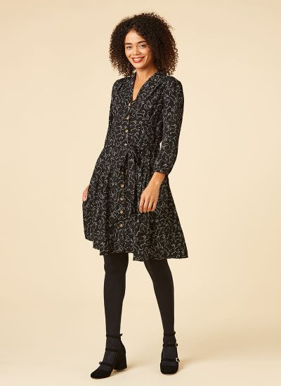 Barbara Cat Print Button-Through Shirt Dress Model Tights