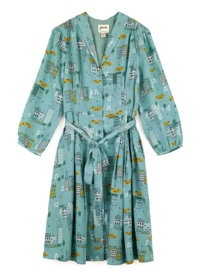 Barbara New York Print Button-Through Shirt Dress