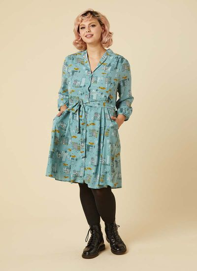 Barbara New York Print Button-Through Shirt Dress Model Front