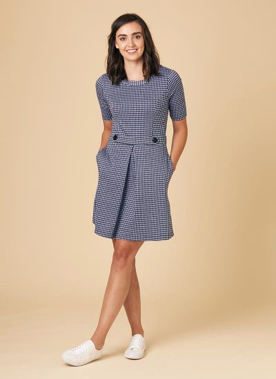 Basil Fitted Stretch Gingham Dress – Blue