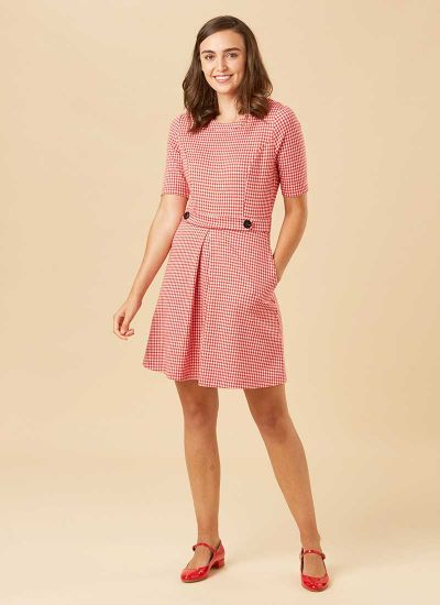 Basil Fitted Stretch Gingham Dress - Red