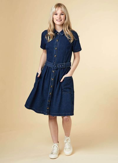 Berlin Belted Denim Shirt Dress Model Pocket