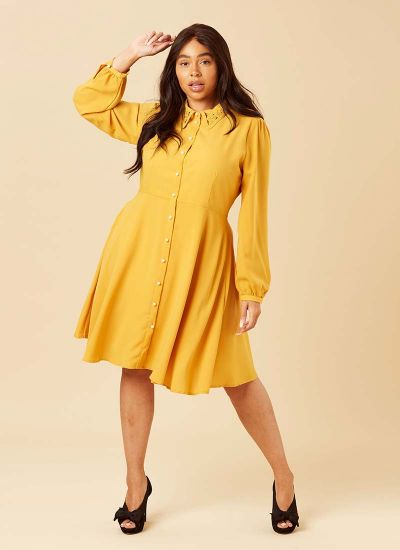 Bessie Floral Cutwork Collar Mustard Shirt Dress Model Front