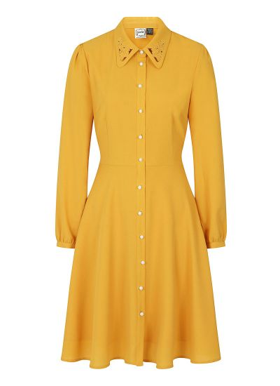 Bessie Floral Cutwork Collar Mustard Shirt Dress Product Front