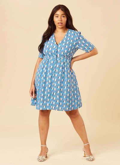 Birdie Boat Print Tea Dress Model Full Front