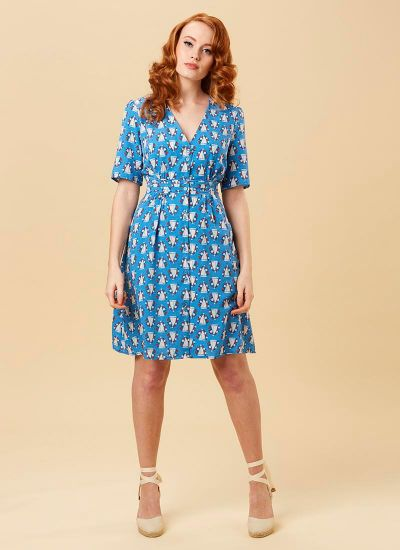 Birdie Boat Print Tea Dress Model Full