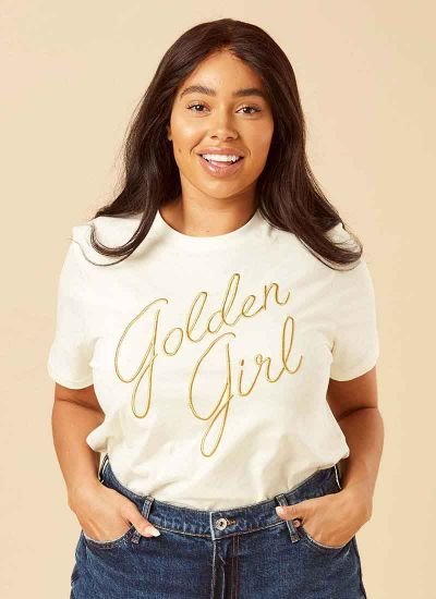 Blanche White Golden Girl Slogan Tee Model Close-Up