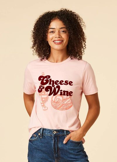 Brie Cheese & Wine Slogan Tee Model Front