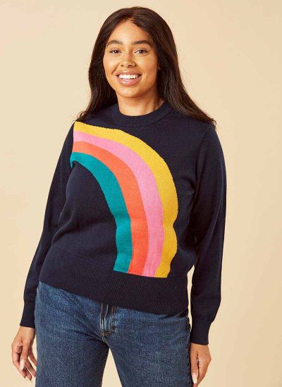Bungle Rainbow Intarsia Jumper Model Close-Up