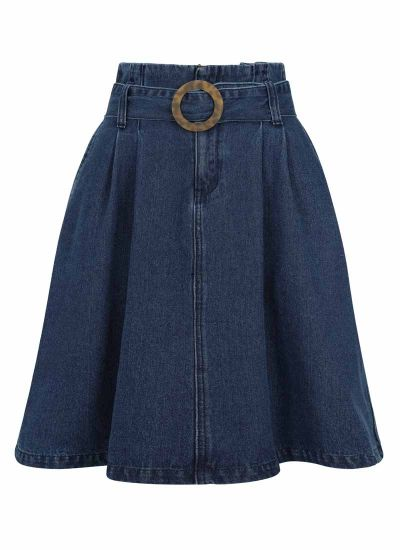 Carole Belted Denim Midi Skirt Product Front