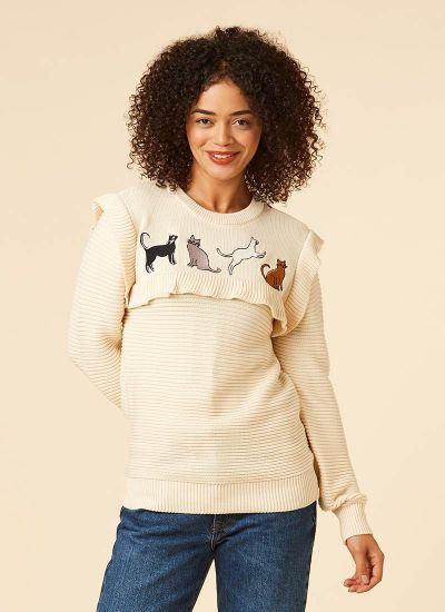 Claudia Cat Embroidered Frill Neck Jumper
