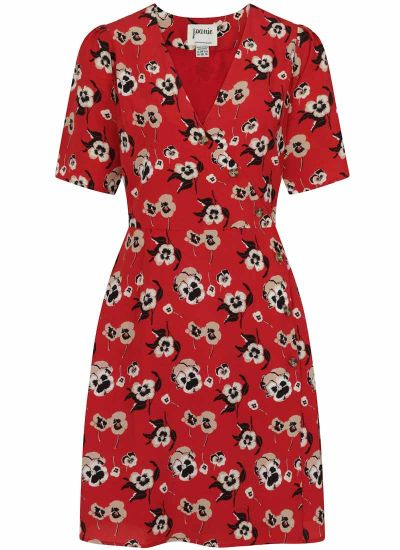 Cleo Red Pansy Floral Print Wrap Dress
