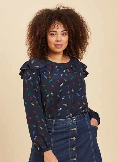 Clippy Paperclip Print Blouse Close-Up