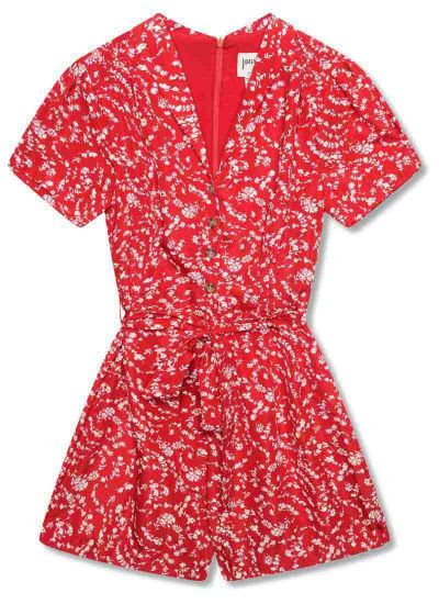 Columbo Tie Waist Red Ditsy Floral Print Playsuit