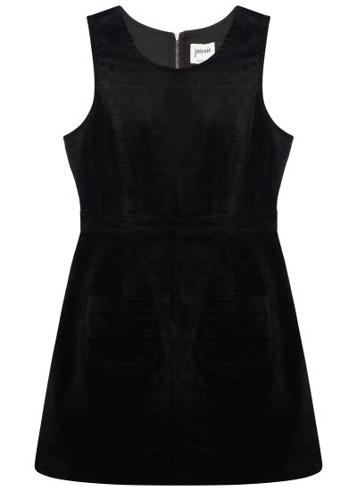 Daphne Patch Pocket Pinafore Dress - Black