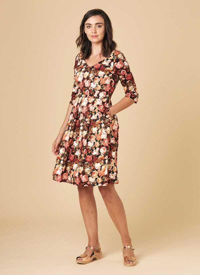 Dawson Winter Floral Long Sleeve Dress Model Front