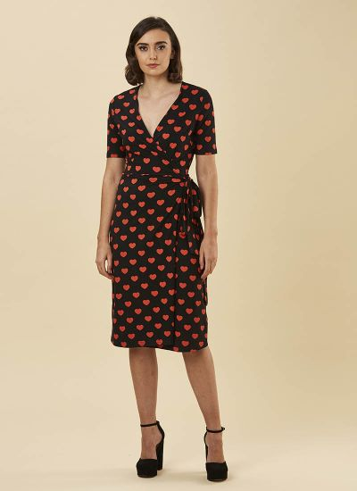 Dent Heart Print Wrap Dress