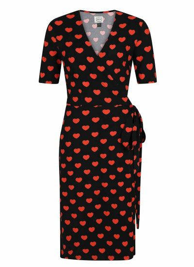 Dent Heart Print Wrap Dress Product Front