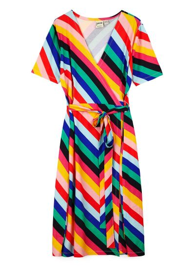 Dent Colourful Stripe Wrap Dress
