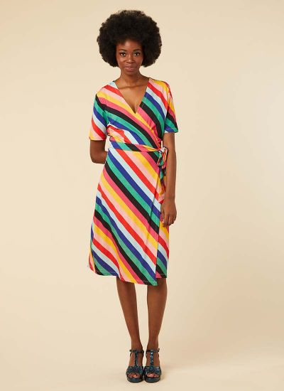 Dent Colourful Stripe Wrap Dress Model Front