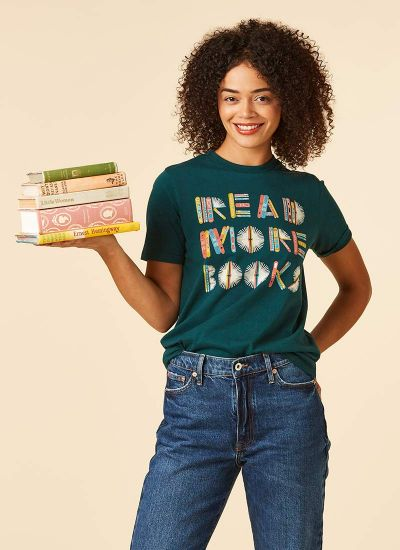 Dewey Read More Books Slogan Tee Model Front