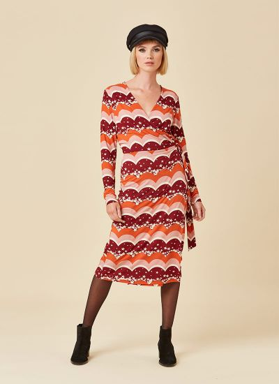 Diane Star & Scallop Long Sleeve Wrap Dress Model Front