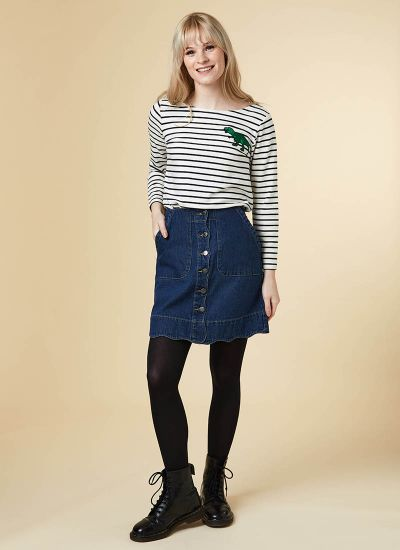 Sarah Scallop A-Line Denim Skirt Model Front
