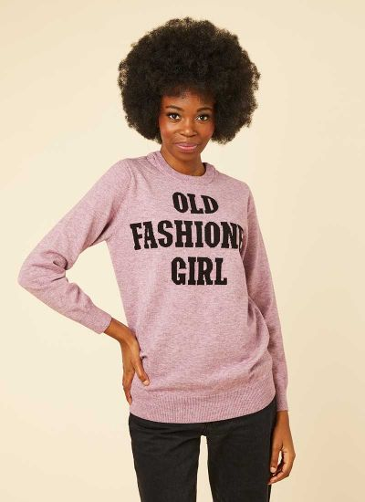 Eartha Old Fashioned Girl Slogan Jumper Model Front