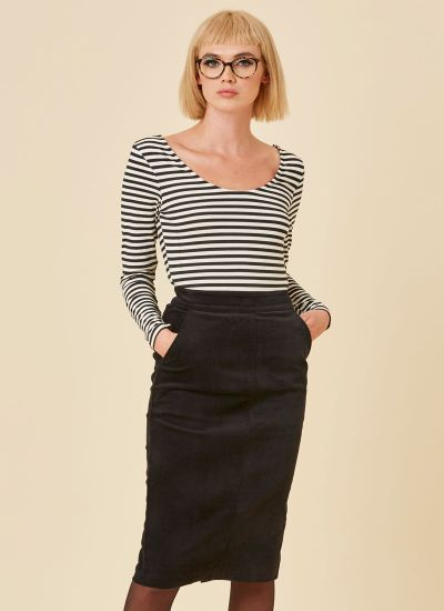 Elle Pocket Pencil Skirt - Black