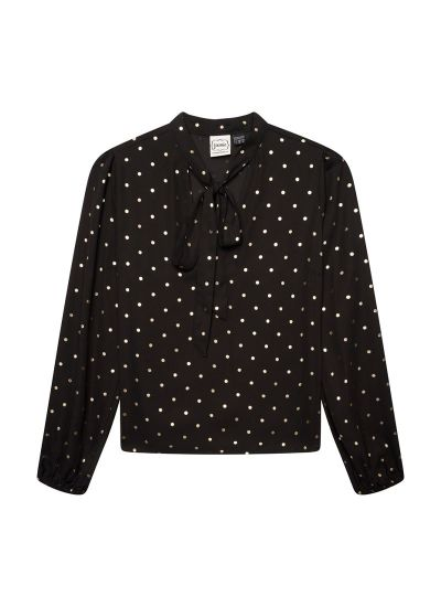 Etoile Gold Polka Dot Pussy Bow Blouse