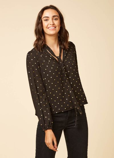 Etoile Gold Polka Dot Pussy Bow Blouse Model Front