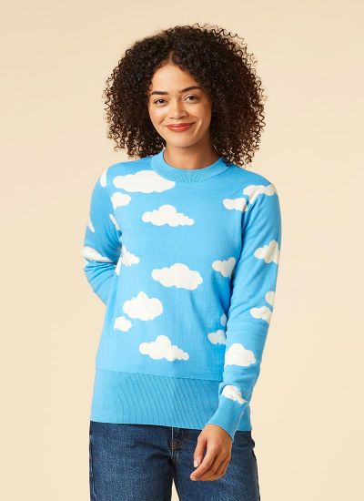 Every Cloud Intarsia Knit Jumper Model Front