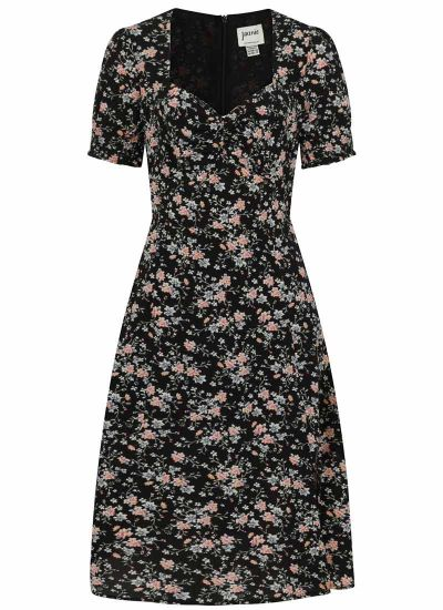 Florrie Dark Floral Ditsy Print Midi Tea Dress Product Front