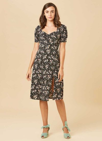 Florrie Dark Floral Ditsy Print Midi Tea Dress Model Front