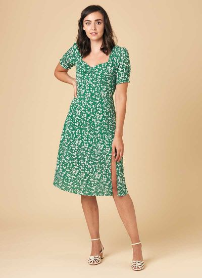 Florrie Ditsy Floral Print Tea Dress Model Front