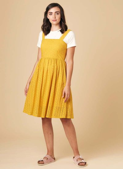 Gemma Mustard Yellow Cotton Sundress