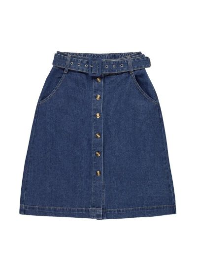 Gladys Belted Button Denim Skirt
