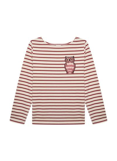 Granger Owl Burgundy Breton Stripe Top Product Front