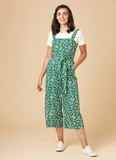 Graziana Green Floral Print Jumpsuit Model Front