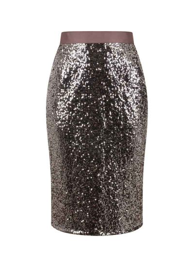 Hannah Sequin Pencil Skirt Silver Product Front